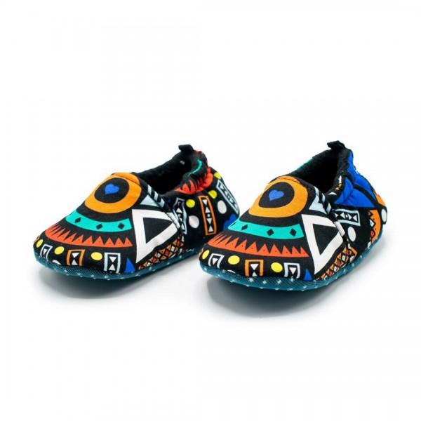 Babyschuhe Kitenge Blue Tribal