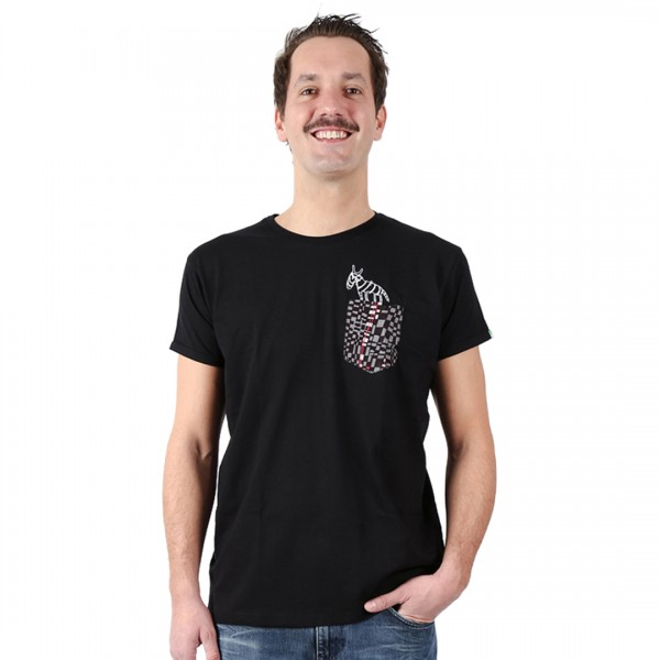 POCKETZEBRA Men Shirt Black