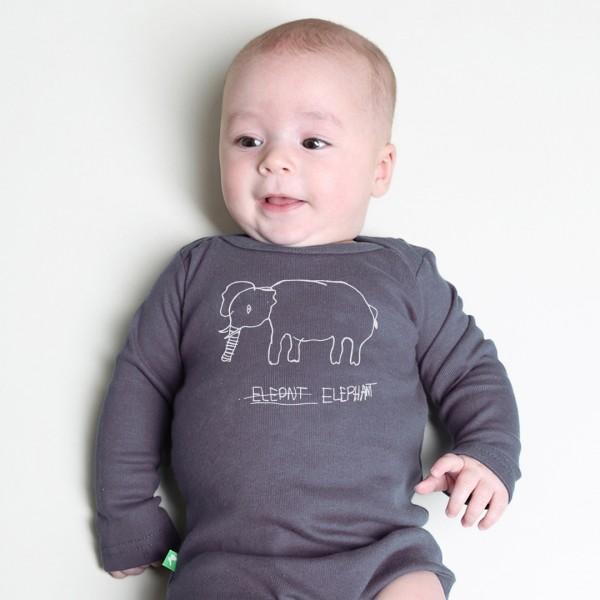 ELEPHANT Babybody Dunkelgrau